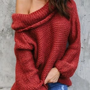Brand new Cherry Red Over Shoulder Sweater